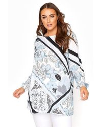 Yours Clothing Yours London Blue Scarf Print Blouse