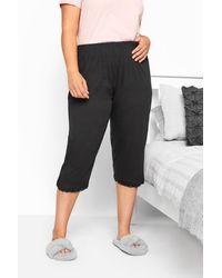 Yours Clothing Black Crop Pyjama Bottoms