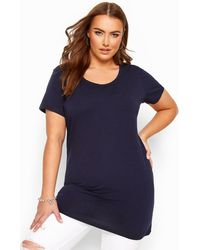 Yours Clothing Navy Longline T-shirt - Blue