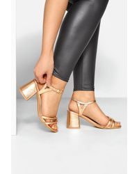 Yours Clothing Limited Collection Gold Double Strap Heeled Sandals In Extra Wide Fit - Metallic