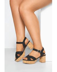 Yours Clothing Limited Collection Black Cork Heeled Platform Sandals In Extra Wide Fit