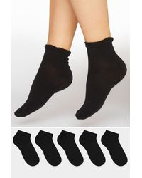Yours Clothing 5 Pack Black Trainer Liner Socks
