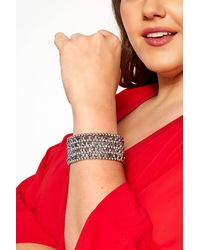 Yours Clothing Silver Beaded Bracelet - Multicolour