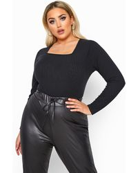 Yours Clothing Limited Collection Black Square Neck Ribbed Bodysuit
