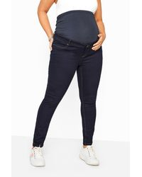 Yours Clothing Bump It Up Maternity Indigo Blue Skinny Jeans With Comfort Panel