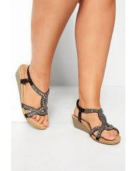 Yours Clothing Black Diamante Twist Wedge Sandals In Extra Wide Fit