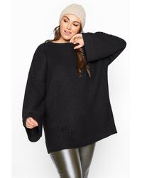 Yours Clothing Black Wide Sleeve Chunky Knitted Jumper