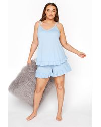 Yours Clothing Limited Collection Light Blue Frill Ribbed Pyjama Shorts