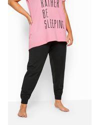 Yours Clothing Black Cuffed Pyjama Bottoms