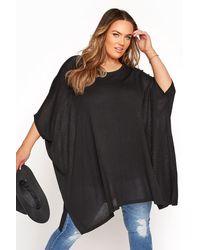 Yours Clothing Black Oversized Boxy Jumper