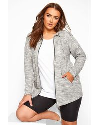 Yours Clothing Grey Marl Zip Through Hoodie - Multicolour