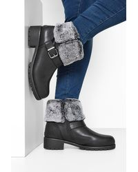 Yours Clothing Black Faux Fur Cuff Ankle Boots In Extra Wide Fit