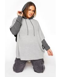 Yours Clothing Grey Colour Block Oversized Knitted Hoodie