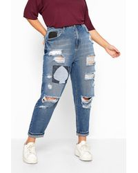Yours Clothing Mid Blue Extreme Ripped Patch Mom Jeans