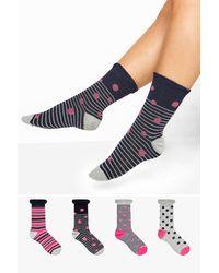 Yours Clothing 4 Pack Navy Spot & Stripe Socks - Blue