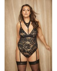 Yours Clothing Black Lace Neck Cuff Boudoir Body