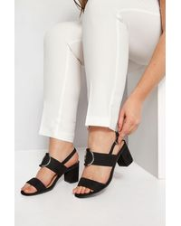 Yours Clothing Black Ring Block Heeled Sandals In Extra Wide Fit