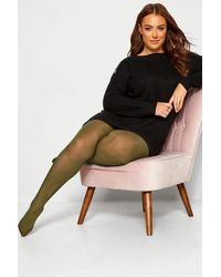 Yours Clothing Olive Green 50 Denier Comfort Tights
