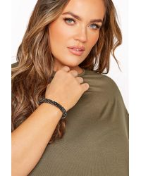Yours Clothing Black Beaded Stretch Bracelet