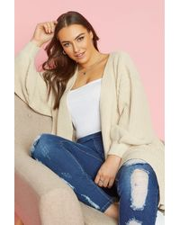 Yours Clothing Stone Oversized Balloon Sleeve Knitted Cardigan - Natural