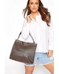 Yours Clothing Brown Geometric Print Shoulder Bag