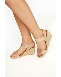 Yours Clothing Rose Gold Espadrille Wedge Sandals In Wide Fit - Multicolour
