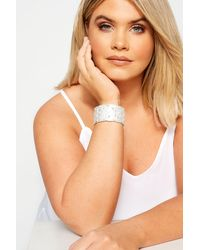 Yours Clothing Silver Floral Diamante Cuff Bracelet - Metallic
