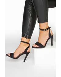 Yours Clothing Limited Collection Black Strappy Two Part Heels In Extra Wide Fit