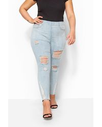 Yours Clothing Light Bleach Blue Ripped Raw Hem Jenny Jeggings