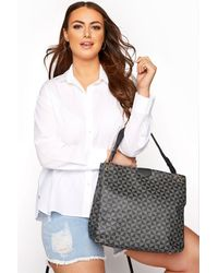 Yours Clothing Grey Geometric Print Shoulder Bag