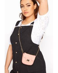 Yours Clothing Pink Quilted Chain Crossbody Bag