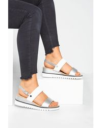 Yours Clothing White & Silver Sporty Wedge Sandals In Extra Wide Fit