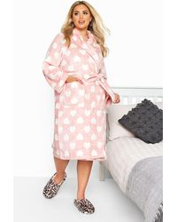Yours Clothing Pink Heart Print Dressing Gown