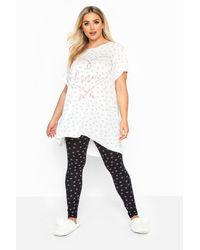 Yours Clothing White & Black Spot Glitter Slogan Pyjama Legging Set