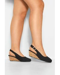 Yours Clothing Black Slingback Wedges In Extra Wide Fit