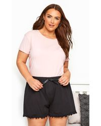 Yours Clothing Black Cotton Pyjama Shorts With Frill Trim