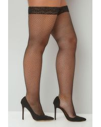 Yours Clothing Black Fish Net Stocking With Lace Trim - Multicolour