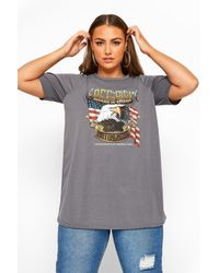 Yours Clothing Limited Collection Grey 'free Spirit' Eagle T-shirt