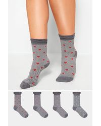 Yours Clothing 4 Pack Stripe Motif Socks - Grey