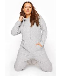 Yours Clothing Grey Marl Soft Hooded Co-ord Lounge Hoodie
