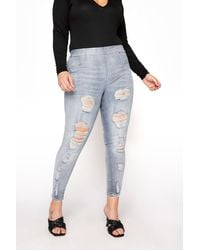 Yours Clothing Bleach Blue Extreme Distressed Jenny Jeggings