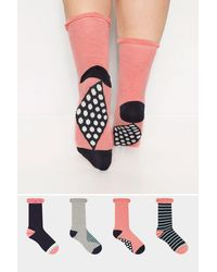 Yours Clothing 4 Pack Stripe Ankle Socks - Multicolour