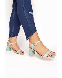 Yours Clothing Limited Collection Mint Green Block Heel Croc Sandals In Extra Wide Fit