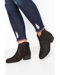 Yours Clothing Black Vegan Faux Suede Western Ankle Boots In Extra Wide Fit