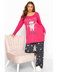 Yours Clothing Pink Glitter Cat Pyjama Set