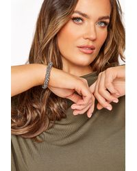 Yours Clothing Silver Beaded Stretch Bracelet - Metallic
