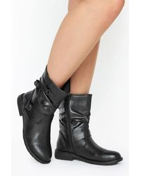 Yours Clothing Black Vegan Faux Leather Buckle Detail Boots In Wide Fit