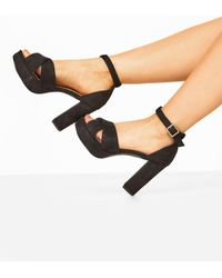 Yours Clothing Limited Collection Black Vegan Faux Suede Platform Heels In Extra Wide Fit