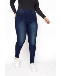 Yours Clothing Donkerblauwe Shaper jegging Met Lichte Wassing