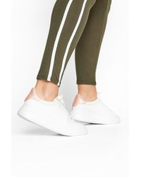 Yours Clothing Limited Collection White & Pink Vegan Leather Platform Trainers In Wide Fit